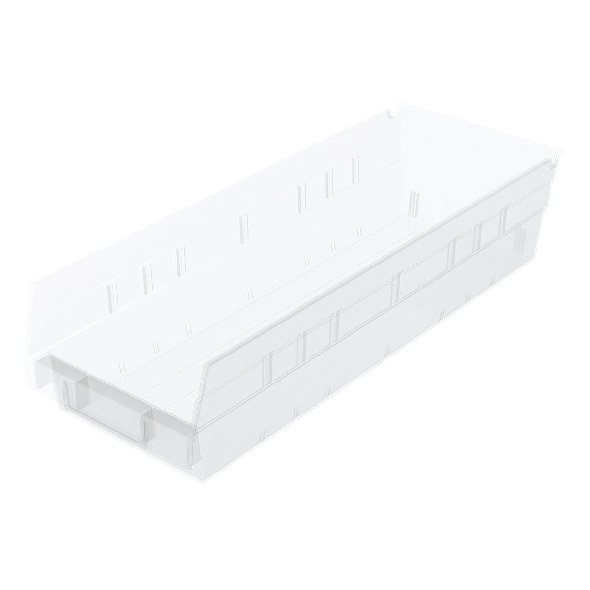 Akro-Mils 30138 18-Inch by 6-Inch by 4-Inch Clear Plastic Nesting Shelf Bin Box, 12-Pack
