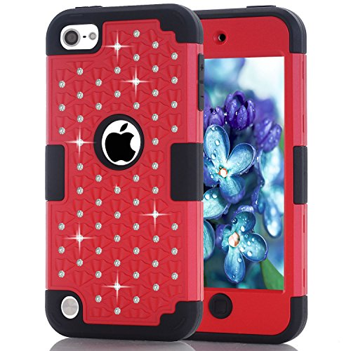 iPod Touch 5 Case, iPod Touch 6 Case, Easytop Diamond Studded Crystal Rhinestone 3 in 1 Bling Hybrid Shockproof Silicone and Hard PC Cover Case for Apple iPod Touch 5 - Button Touch Generation Ipod 1st