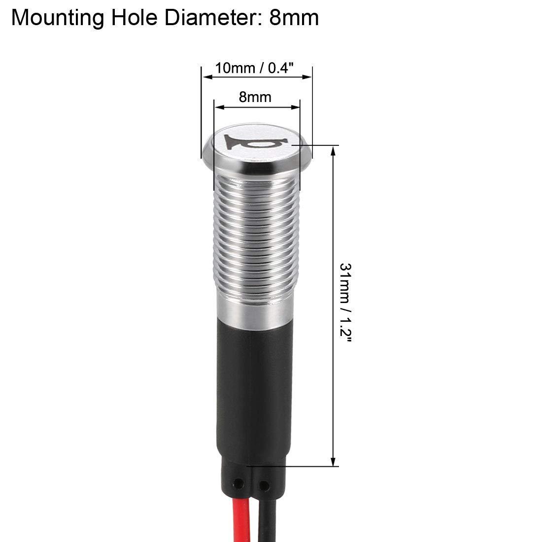 sourcing map Segnale Indicatore Luce DC 12V 8mm Rosso LED Metallo Guscio con Simbolo Avvisatore Acustico
