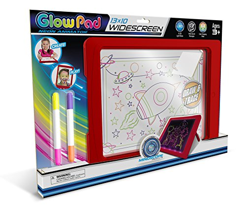 Mindscope Light Up Glow Pad Widescreen Writing Board RED with Dry Erase Markers]()