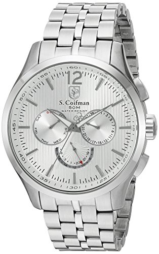Silver Arabic Markers - S. Coifman 'Men's Bracelet' Swiss Quartz Stainless Steel Watch, Color:Silver-Toned (Model: SC0126)