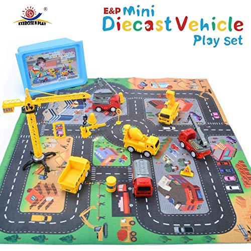 "EXERCISE N PLAY Mini Construction Vehicle Play Set with a Kid Play Car Rug (28"" x 31"") , Engineering Vehicle Toy Play Diecast Vehicles Toy Cars for Kids, Boys or Girls"