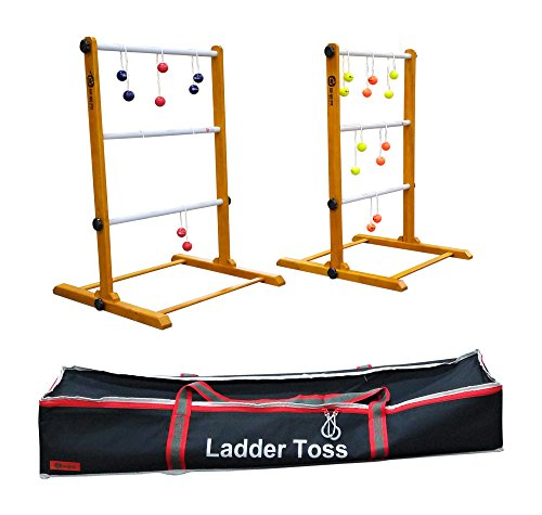 Uber Games Ladder Toss - Double Game - Red, Navy Blue, Orange, and Yellow Bolas]()