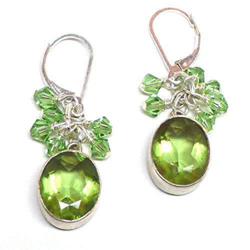- Peridot Faceted Cabochon Sterling Silver Earrings Crystal Cluster Drop