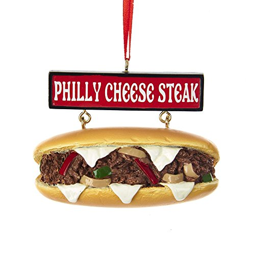 Collectible Glass Philadelphia Phillies Ornament - Kurt Adler Philly Cheese Steak Sandwich with Sign Ornament