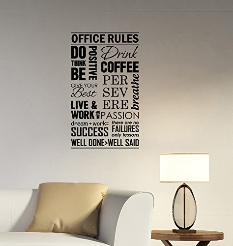 Cheap  Office Rules Wall Decal Be Think Positive Success Work Inspirational Quotes Sticker..