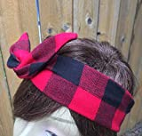 Fall Flannel Wired Headband Dolly Bow Bandanna Print Print Wired Dolly bow Rockabilly Wire Scarf Headband Rabbit Ears