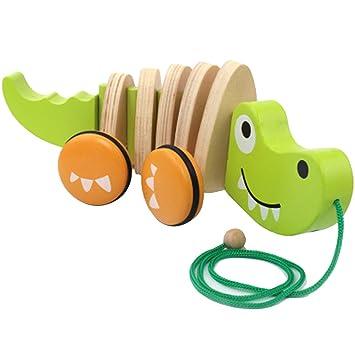 Dackel Holztier Nachziehtier Hund f/ür Kinder ab 36 Monate Natureich Dackel Nachziehspielzeug aus Holz