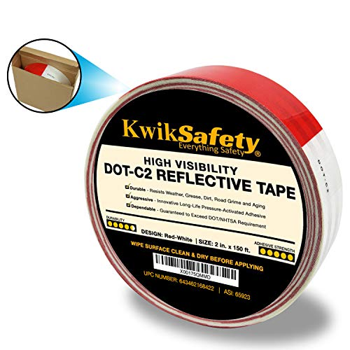 KwikSafety IRON GRIP TAPE | DOT-C2 Retroreflective Tape | High Grade Gem Pattern | Conspicuity PET Commercial Roll | Truck Auto Freight Cargo Buses Boat Semi | Safety Adhesive | Red/White 2