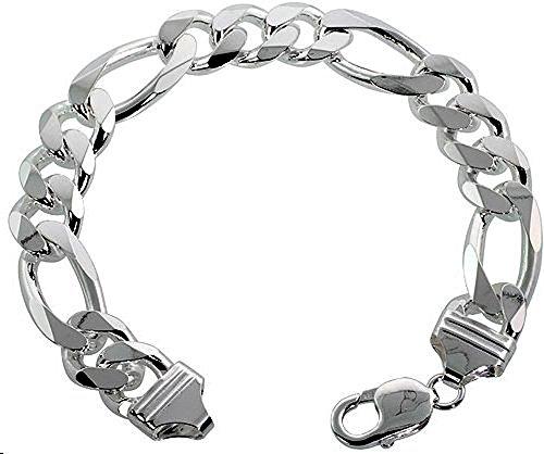 Brilliant Men's Sterling-silver 13MM Italian Figaro Bracelet 8 Inch (8 Inch Figaro Silver Plated)