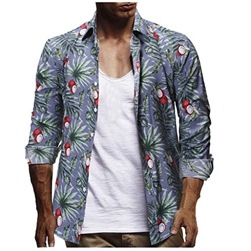 Fashion Men's Casual Button Hawaii Print Beach Short Sleeve Quick Dry Top BlouseTank Tops Mens Summer Tronet