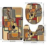 3 Piece Bathroom Mat Set,Music Decor,Funky Fractal Geometric Square Shaped Background with Acoustic Guitar Figure Art,Multi,Bath Mat,Bathroom Carpet Rug,Non-Slip