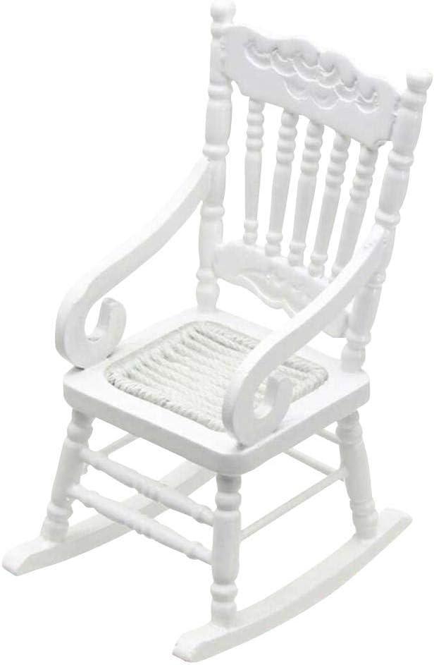 Dollhouse Wooden Chair, 1:12 Dollhouse Miniature Wooden Rocking Chair Model (White)