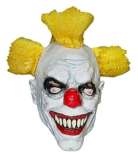 Maze Realistic Grotesque Grinning Colorful Evil Clowns Full Face Latex Masks, X12010 One Size ()