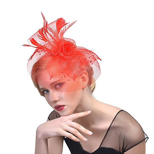 Wedding Discount Veils (Sunyastor Fascinators Hat Flower Cocktail Tea Party Headwear Feather Mesh Net Veil Top Wedding Hat for Girls and Women (Red))