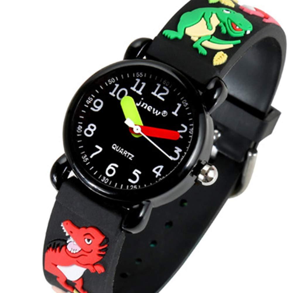 Kids Watches Waterproof Sport Wrist Watch 3D Cartoon Wristwatches Time Teacher (Black)
