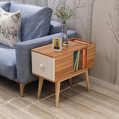 ZR- Sofa Side/Side Cabinet Rectangular Side Table Book Stand/Rack (Color : Deep Pecan)