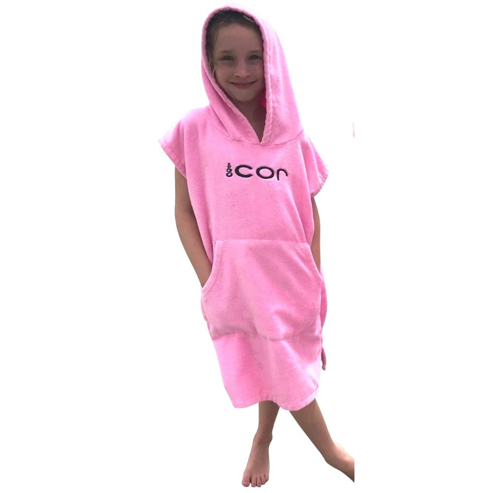 COR Childrens Unisex Poncho Towel Robe Light and Dark Blue, Pink and Green for Ages 3-10 (Pink)