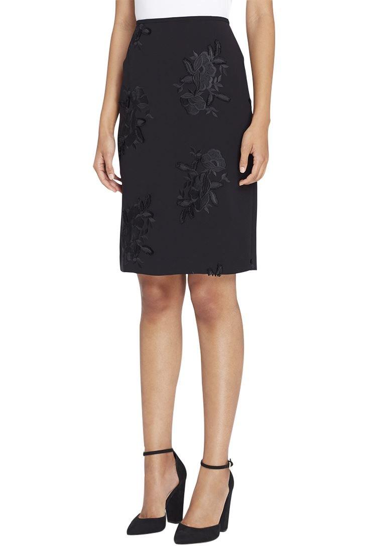 Tahari Women's Floral Appliqué Crepe Pencil Skirt - Black - 2 by Tahari