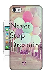 Quote Never Stop Dreaming Slim Fit Hard Case Cover For iPhone4 Skin Protector Accessory