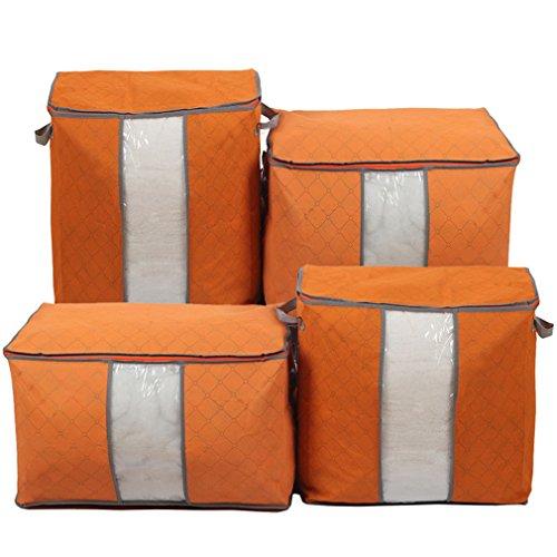 4 Large Suit Garment Clothes Covers Bags for Suits, Jackets, Uniforms, Dresses Etc (Orange)
