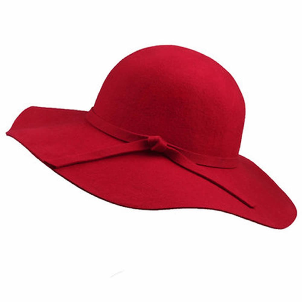 maxgoods Women's Floppy Hat Fedora Hat With Wide Brim Warm Vintage Bowknot Felt Hat