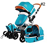 RoseSummer Baby Stroller 3 in 1 Carriage High Landscape Infant Travel Car Foldable Pram Pushchair (Blue)