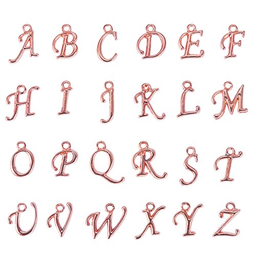 - Pandahall 200pcs Assorted Alphabet Charm Pendant Loose Beads Rose Gold Plated A-Z Letter Pieces, 12~17x4~15x2mm