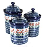 Ceramika Artystyczna Blue Rose Polish Pottery Peach Posy 3 PC Canister Set