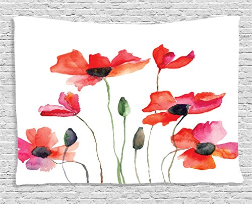 Flower Decor Tapestry by Ambesonne, Poppies Wildflowers Nature Painting Watercolor Effect,  Wall Hanging for Bedroom Living Kids Girls Boys Room Dorm, 60 X 40 Inches, Fuchsia Orange and Olive