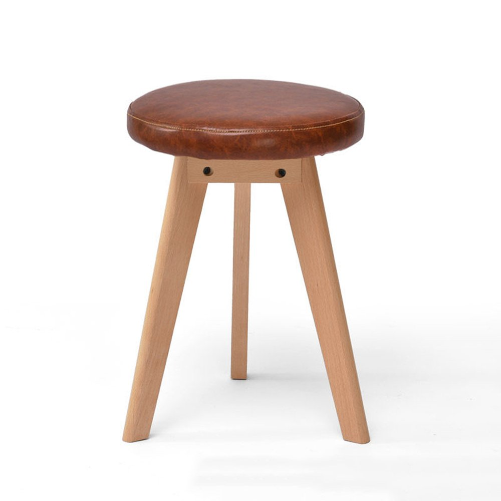 Stool - solid wood stool/fashion stool/fabric makeup stool/home table stool/Nordic small bench/artificial leather stool (two optional) 4540cm (Color : Brown)