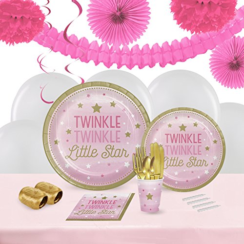 Twinkle Twinkle Little Star Pink Childrens Birthday Party Supplies - Tableware and Decoration Pack (16)
