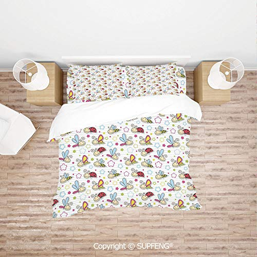 SCOXIXI 4 Piece Bedding Adorable Bugs with Colorful Flowers Ladybugs Dragonflies Bees Animal Fun (Comforter Not Included) Soft, Breathable, Hypoallergenic, Fade Resistant