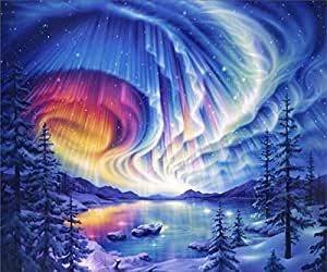 5D Diamond Painting Kits, DIY Embroidery Painting Wall Sticker for Wall Decor Full Drill - Aurora 12 x 16inch