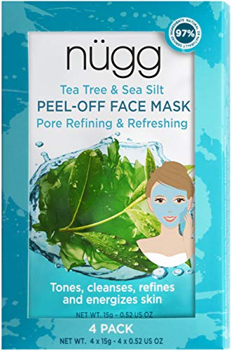 nügg PEEL-OFF FACE MASK Set for Toning, Pore Refining and Cooling; with Tea Tree Oil and Sea Silt; Non-Drying Natural Rubber Peel Off Mask; 4 x 15g (4 x 0.52 oz) Cooling Peel Off Mask