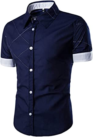Camisa De Hombre A Cuadros Color Bloque Botón Abajo Blusa De Manga Corta: Amazon.es: Ropa y accesorios