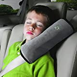 infant car seat cushion covers - Children Baby Soft Headrest Neck Support Pillow Shoulder Pad for Car Safety Seatbelt (gray)