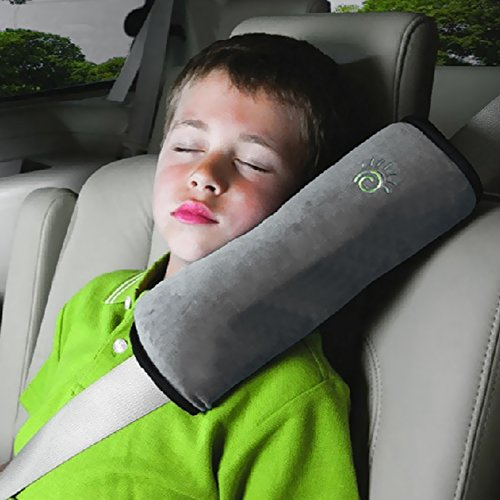 Children Baby Soft Headrest Neck Support Pillow Shoulder Pad for Car Safety Seatbelt (gray)