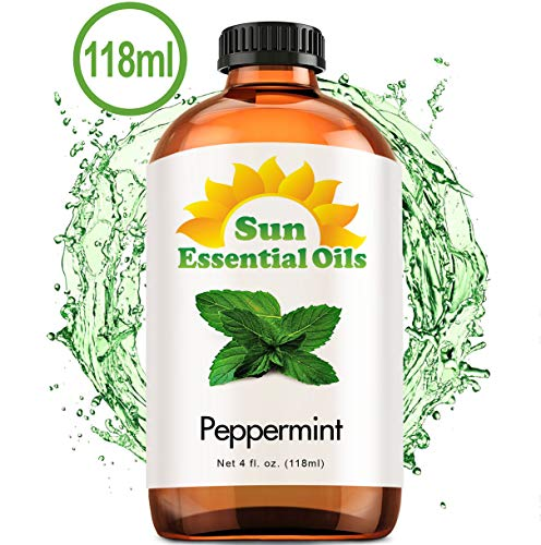 Best Peppermint Oil (Large 4 Oz) Aromatherapy Essential Oil for Diffuser, Burner, Topical Useful for Hair Growth, Mice, Rodents Repellent, Headaches Skin Home Office Indoor Mentha Piperita Mint Scent