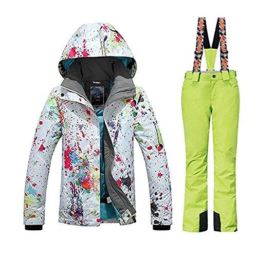 c0c3cd1180 Women s Fashion High Windproof Waterproof Snowsuit Colorful Printed Ski  Jacket Pants