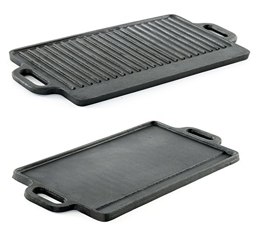 ProSource hg-1101-griddle Professional Heavy Duty Reversible Double Burner Cast Iron Grill Griddle, 20 by 9-Inch, - Rachel Ray Flat Griddle