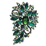 Green Rhinestone Brooch Women Jewelry Broaches Pins Flower Wedding Bouquet Birthday Gifts 4080