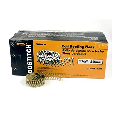BOSTITCH 1-1/2-Inch Smooth Shank 15? Coil Roofing Nails, 7,200-Qty. from Bostitch
