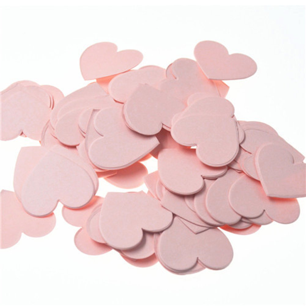 Hangnuo 300 PCS Glitter Table Confetti for Wedding Birthday Party Decoration, Baby Shower Heart Shaped Confetti, Pink