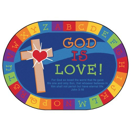 Carpets for Kids 83006 God Is Love Learning Kid$ Value Plus Rug-Oval 6' x 9' 6' x 9' , 6'9'' x 9'5'', Blue by Carpets for Kids