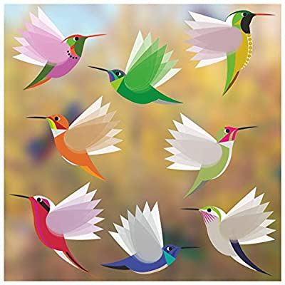 Hummingbirds Window Clings/Decals - Set of 8 Large Illustrated Decorative Glass Static Clings - Helping Prevent Bird Strikes on Windows
