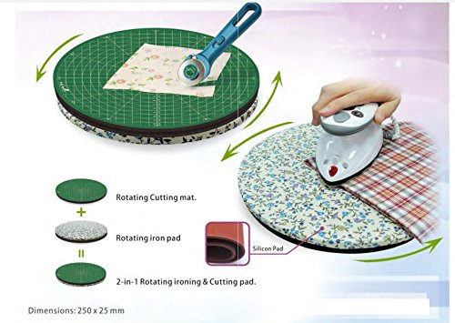 Two-In-One Rotating Mat For Cutting And Ironing Purposes, 2 in 1 Multi-Function Intergrated Set,Cutting Mat And Ironing Pad,Innovative Waterproof Fabric,Flower Color Random by Weishidai