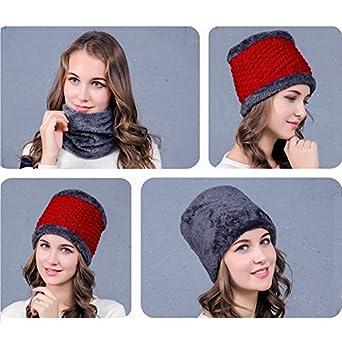 986ef73c831e iShine Mode Bonnet en Maille et Echarpe Tube Tricoté Masque Casquette avec  Pompon Chaud Hier Unicolore Chapeau Elastique Echarpe pour Femme Fille  Blanc  ...