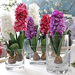 ShineBear Artificial Flower Hyacinth with Bulbs Ceramics Silk Flower Simulation Leaf Wedding Garden Decor Home Table accessorie Plant 1pc 22