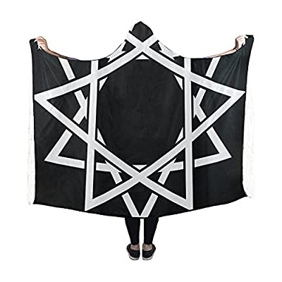 Jnseff Hooded Blanket Hexagon 12 Point Star Shape Black And White Blanket 60x50 Inch Comfotable Hooded Throw Wrap